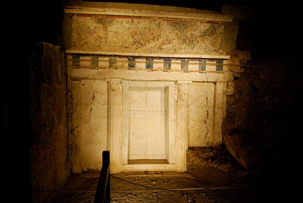 Facade of Philip II tomb Vergina Greece