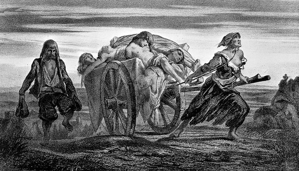Truck loaded with plague victims in Elliant drawn by a woman with tattered clothes. Moynet lithograph based on Duveau's Collections.