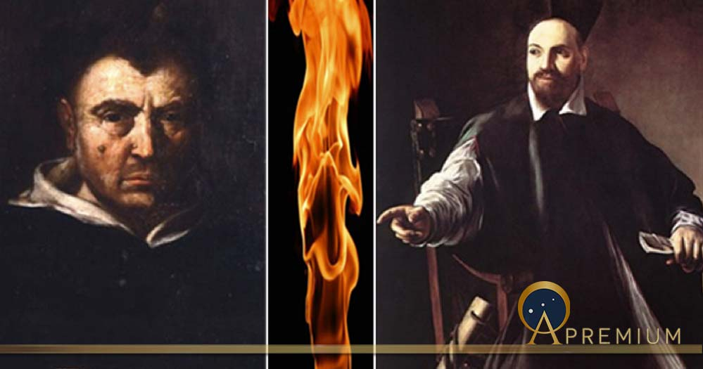 On the left, the heretic Dominican friar Campanello, (Public Domain), strange torches, mysterious melodies and curious perfumes (anarhja ) and on the right, a very worried Pope Urban VIII (Public Domain) (Image Deriv: compiled by Dr. Roberto Volterri)