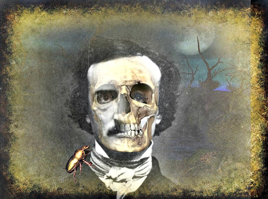 Digital illustration of a portrait of Edgar Allan Poe