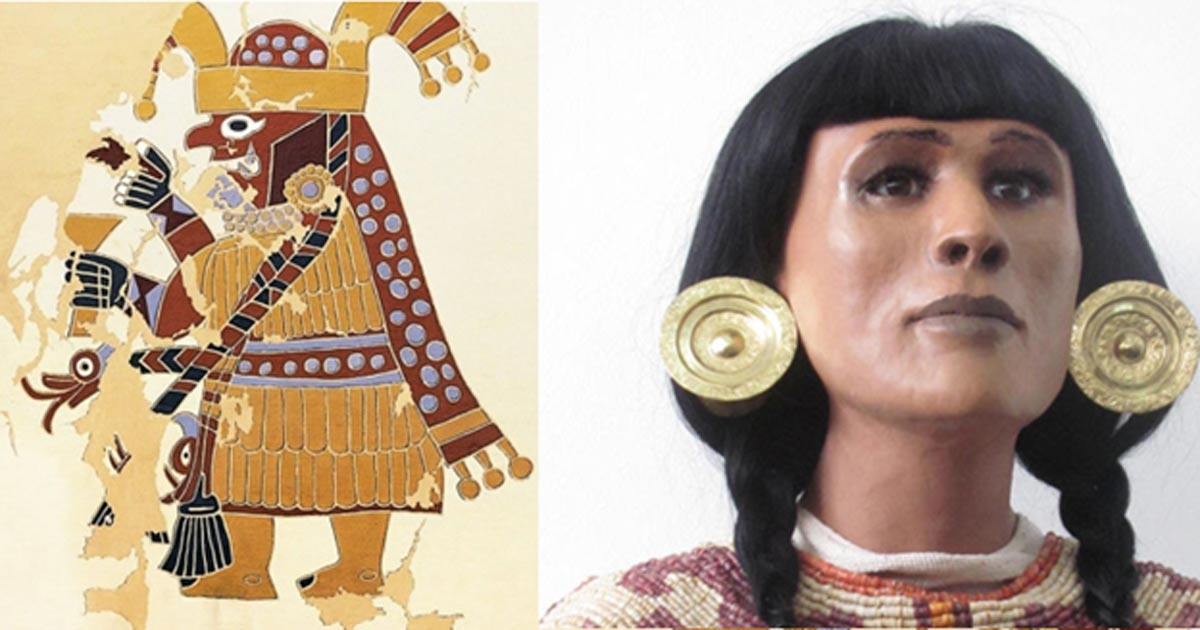Detail of a mural depicting a Moche priestess. Reconstruction of a Moche priestess.