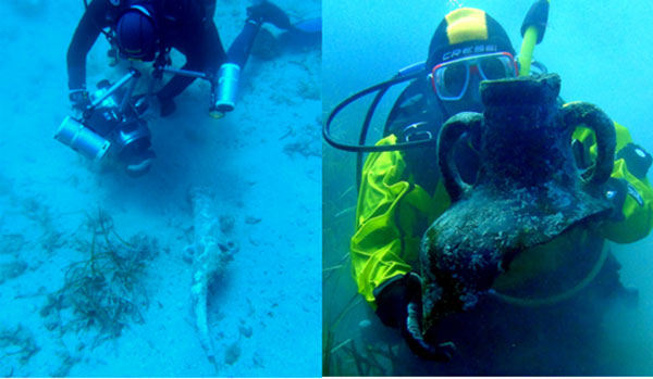 Punic Vessels at shipwreck in Spain