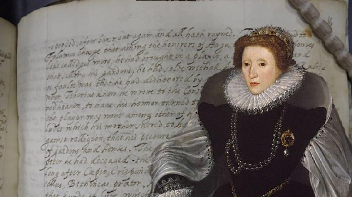 Detail of the manuscript which Queen Elizabeth I is believed to have translated. (Lambeth Palace Library) Insert: Detail of the Sieve Portrait of Queen Elizabeth I (1583) by Quentin Metsys the Younger. (Public Domain)