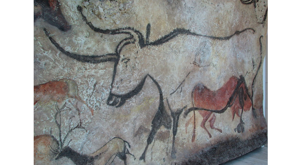 A replica of a painting of an aurochs in Lascaux cave in France. Scientists have estimated these paintings may be 20,000 years old.