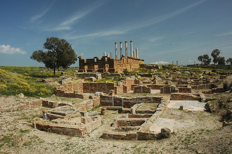 Section of the ruins of the city of Thuburbo Maius, Tunisia.