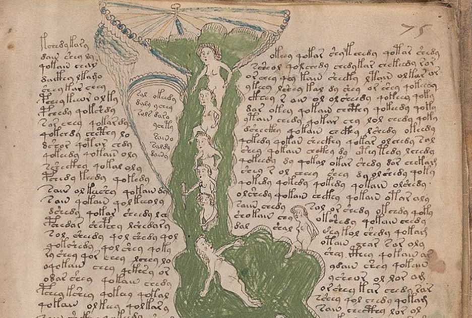 A page from the mysterious Voynich manuscript, which is undeciphered to this day.