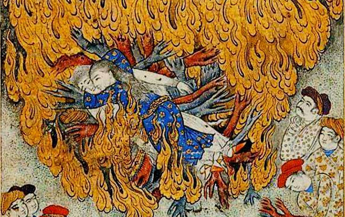 17th century illustration of a woman committing sati: self-immolation ...