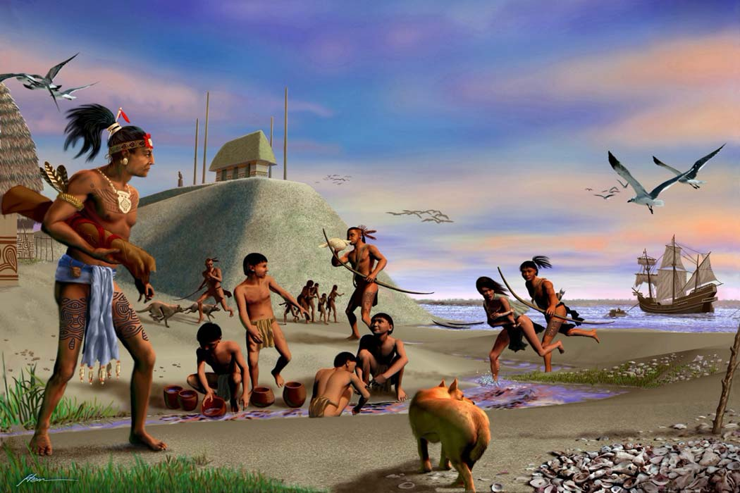 Representation of Tocobaga Indians at a pre-Columbian settlement in Florida, USA. Source: pinellascounty.org