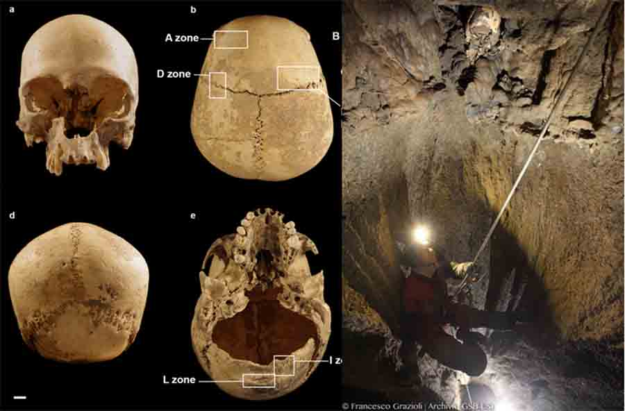 Severed Head of Stone Age Women Found Lodged in Rocks of Italian Cave