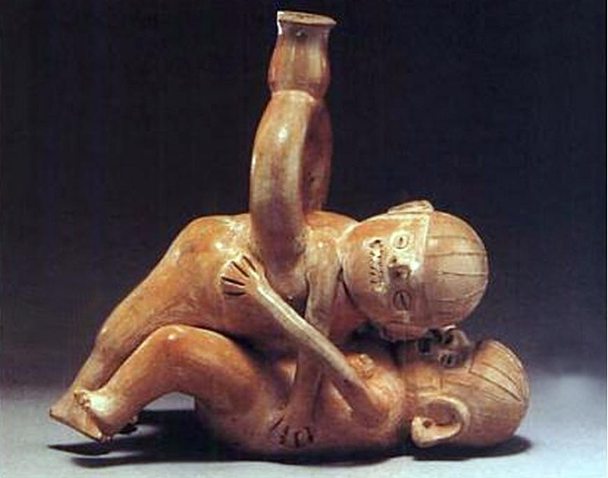 A sex-themed vessel found in Peru. Museo Arqueologico, Lima, Peru.