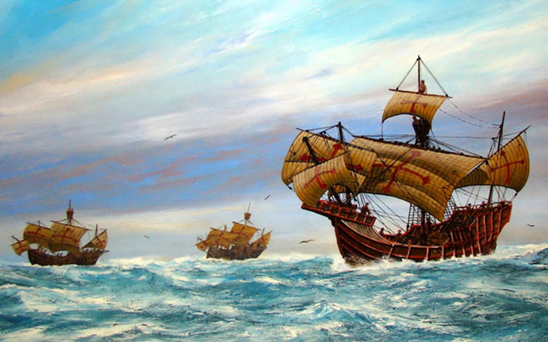 Painting depicting La Niña, La Pinta, and the Santa Maria. San Diego Maritime Museum.