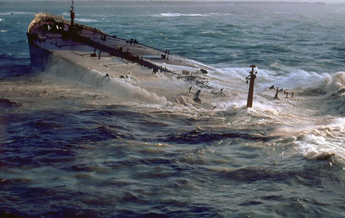 An example of a sinking tanker. AMOCO CADIZ grounding and oil spill, Brittany, France.