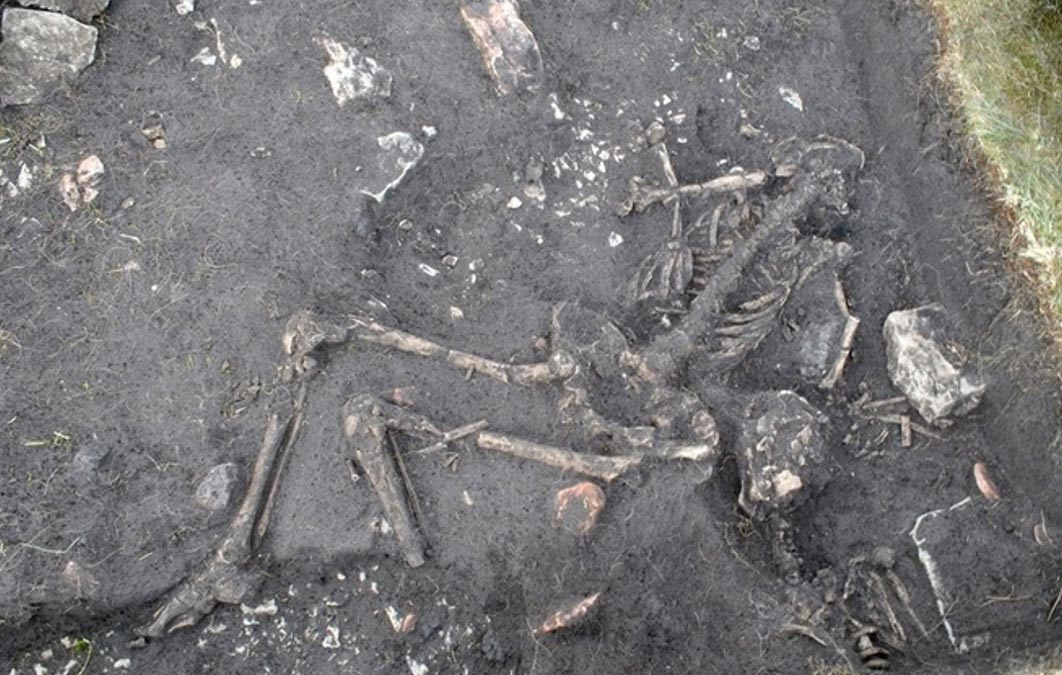 In house 40 in the Sandby borg ringfort, the skeletons of two young men were found right inside of the door. Further into the house were more human remains.