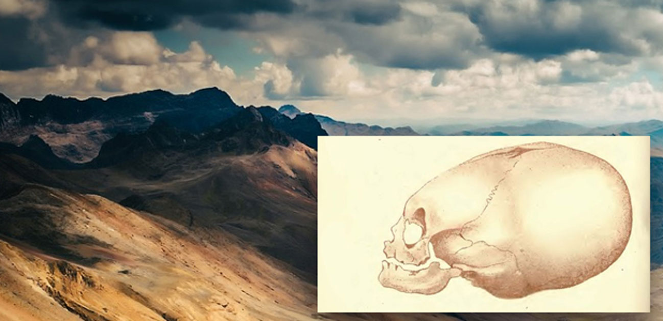 Lithograph of Pervuian elongated skulls by J. Basire, 1842, and a Peruvian landscape. (Public Domain/Deriv)