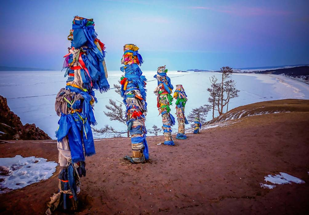 Spirit poles on Olkhon Island, Lake Baikal, Russia.