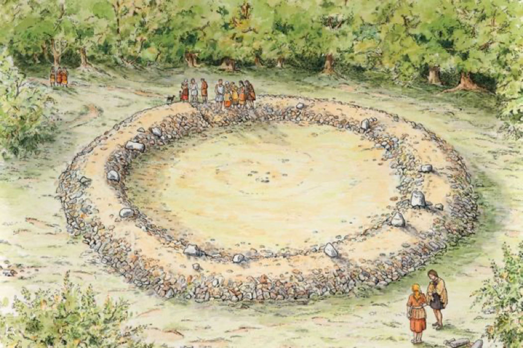 Reconstruction of the stone circle. Source: Anne Leaver