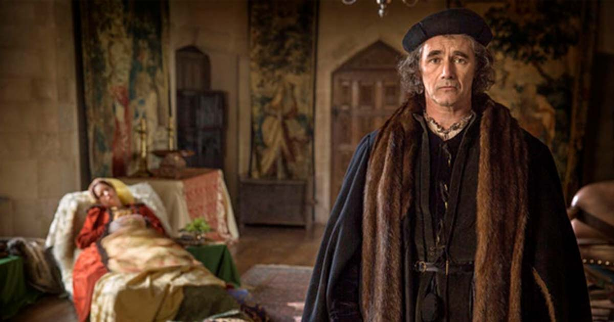 Don't look so worried Cromwell, she's just asleep. Thomas Cromwell's wife and daughters died of sweating sickness.