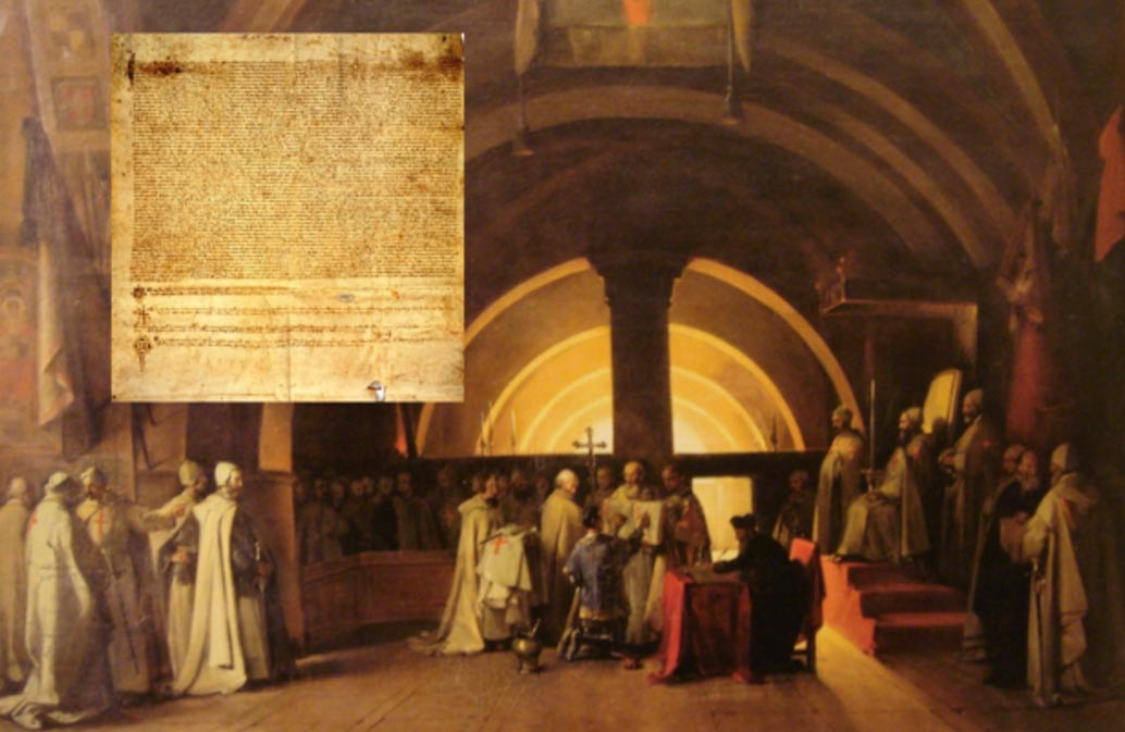 Deriv; Ordination of Jacques de Molay in 1265 as a Knight Templar, at the Beaune commandery and the Chinon Parchment.