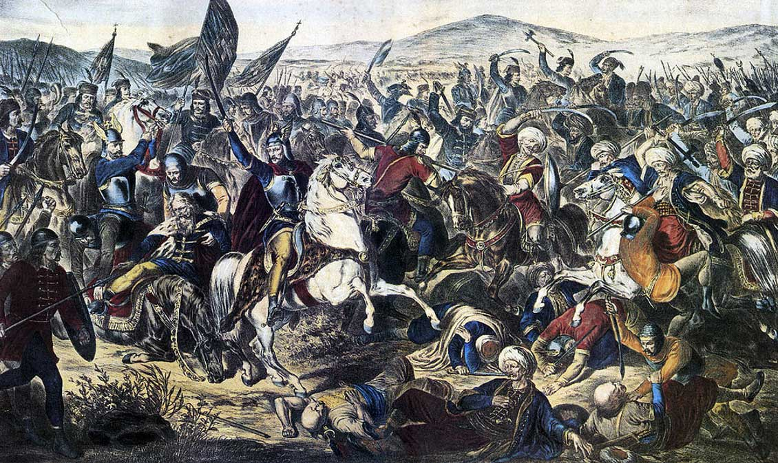 A painting depicting the Battle of Kosovo (1870) by Adam Stefanović. Prince Lazar is seen dying with his horse at the left.