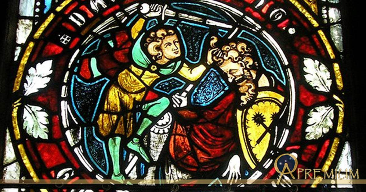 David chops off the head of the giant, Goliath. Stained glass window.