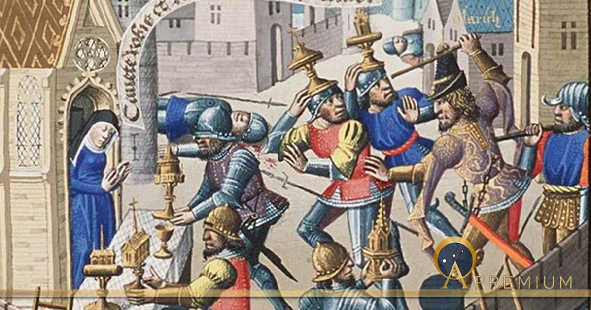 Sack of Rome by Alaric - sacred vessels are brought to a church for safety in Augustine, La Cité de Dieu (circa 1475) (Public Domain)
