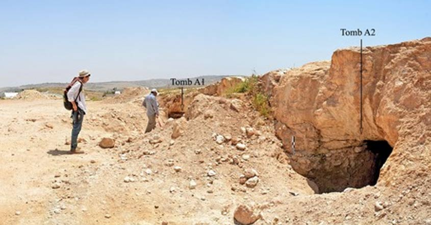 This photo shows the opening to two of the tombs at the Khalet al-Jam'a necropolis.
