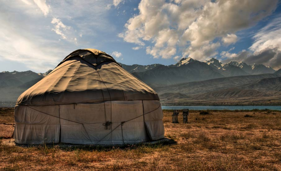 A traditional yurt in the Eurasian Steppe. The Yamnaya culture used yurts as their temporary dwellings as they moved across the steppe.
