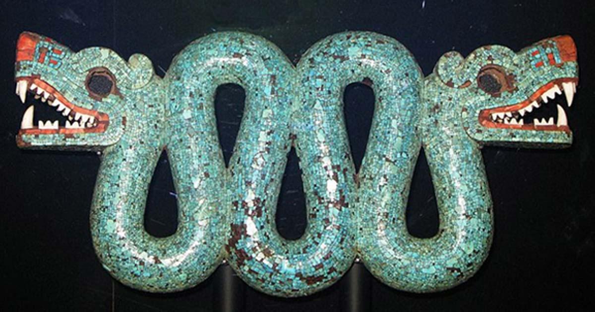 Aztec double headed serpent turquoise chest ornament, British Museum.