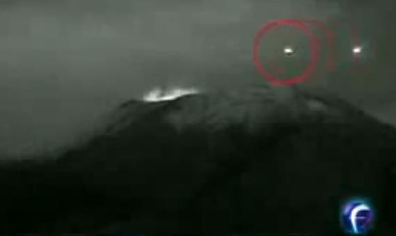 UFO entering Volcano