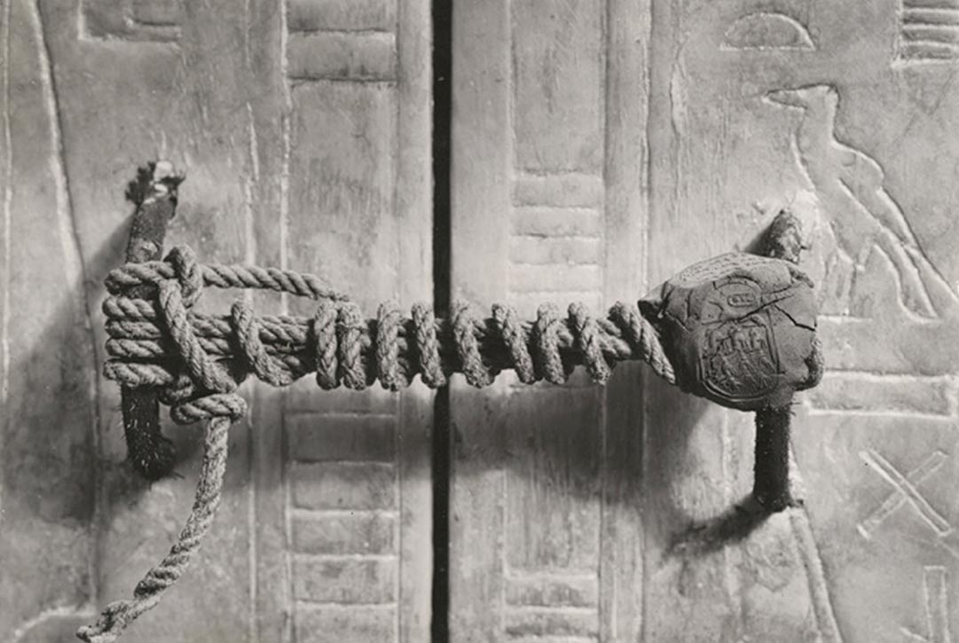 The unbroken seal on Tutankhamun's tomb, 1922.