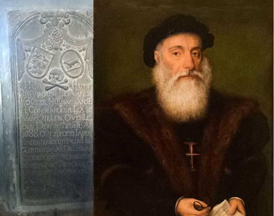 Engraved plaque near the explorer's tomb in Kochi, India and portrait of Vasco da Gama.