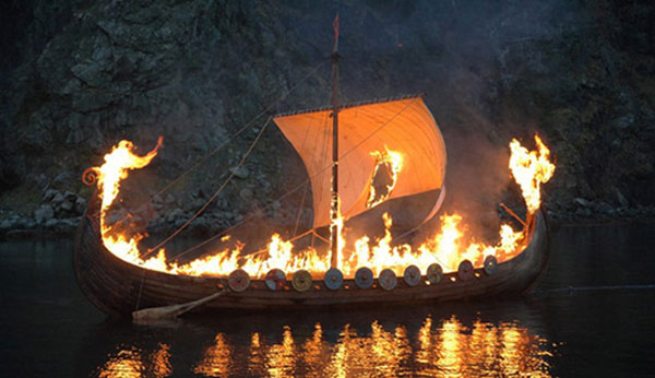 Viking ship with dead