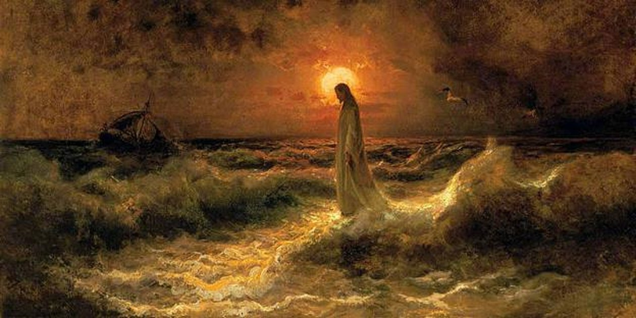'Christ Walking on the water' (1880?) by Julius Sergius Von Klever.