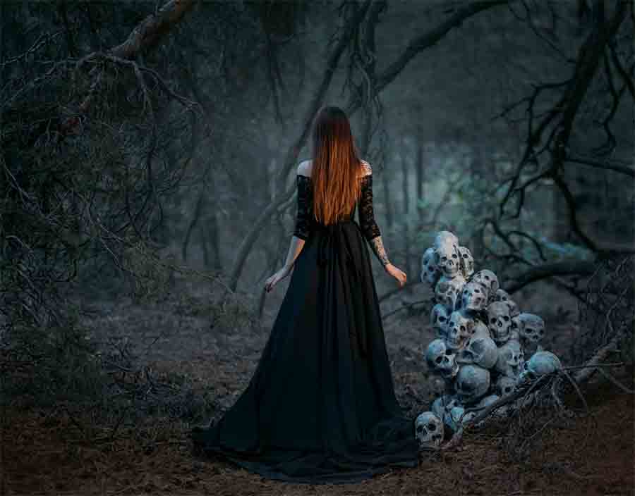 A witch or a woman in a dark forest? Witch pricking was used for centuries to falsely prove a woman (or a man) was a witch!