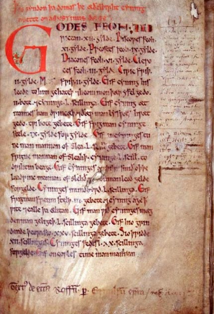 The first page of the 12th century manuscript known as the Textus Roffensis, which contains the oldest surviving copy of Wihtred's law code. (Deacon of Pndapetzim / Public Domain)