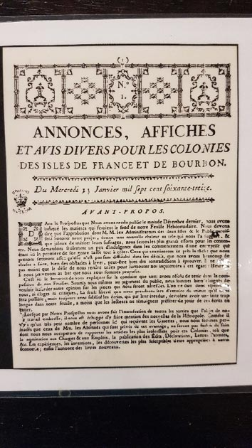Copy of the first page of Annonces Affices, January 13, 1773 first newspaper in the Southern hemisphere. (Image: Courtesy Micki Pistorius)