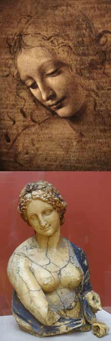Flora isn't the only questionable da Vinci artwork in circulating. La Scapigliata (on the left) has also been controversially attributed to the Italian Renaissance artist, just as Flora (on the right) had been until this conclusive scientific evidence determined it to be the creation of British artist Richard Cockle Lucas. (Left: Public domain / Right: Public domain)