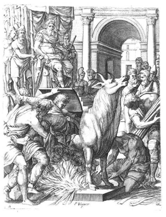 An engraving showing Perillos being forced into the Brazen Bull.