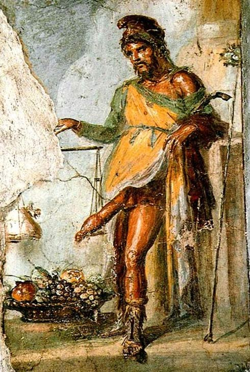 A fresco of Priapus from the House of Vettii in Pompeii—the hapless Priapus must have been very unhappy indeed.
