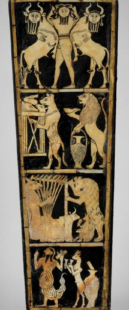 All the front images from the Bull Headed Lyre found in the Royal Tombs of Ur. (Penn Museum)