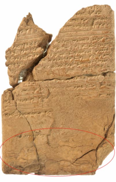 Full shot of the cuneiform tablet showing the 'epilepsy demon' circled in red. (Olaf M. Teßmer / Staatliche Museen zu Berlin - Vorderasiatisches Museum)