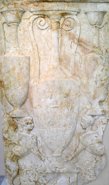 A 5th century BC funerary stele with griffins and other figures from Kerameikos cemetery