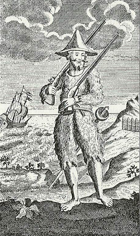 Illustration of a fur-clad Crusoe shows the influence of Selkirk's circumstances.