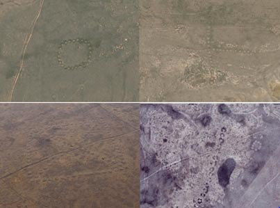 Some of the geoglyphs found in northern Kazakhstan