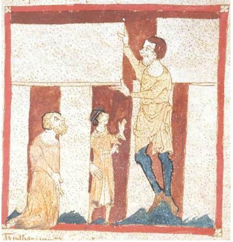 Un gigante de ayuda Merlin construir Stonehenge.  A partir de un manuscrito del Roman de Brut por Wace