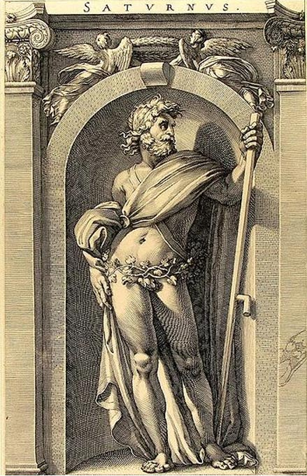Engraving of the god Saturn by Polidoro da Caravaggio.