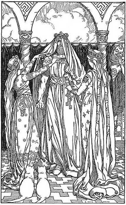 1902 illustration of the god Thor dressed to appear as the goddess Freyja by two maidens, while the god Loki laughs
