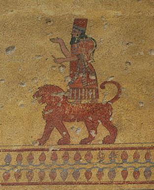 Ancient depiction of the god Haldi, Erebuni Fortress