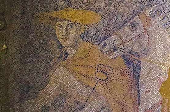 The god Hermes leads the chariot and its occupant into the afterlife - Mosaic Amphipolis tomb