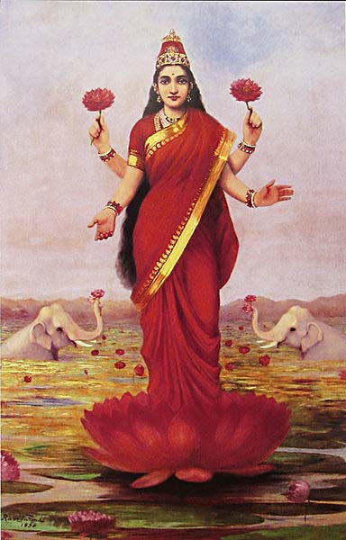 The goddess Lakshmi also wears the bindi.